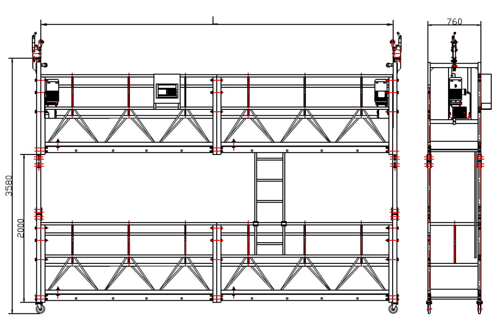 size of double suspended platform